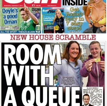 Sun front page Room with a queue
