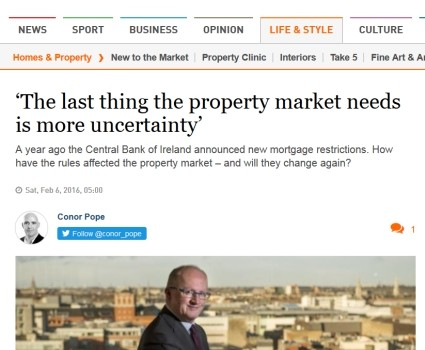 2016-02-09 Irish Times housing and mortgage article by conor pope